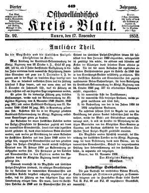 Osthavelländisches Kreisblatt vom 17.11.1852