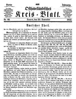 Osthavelländisches Kreisblatt on Nov 20, 1852