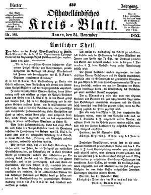Osthavelländisches Kreisblatt vom 24.11.1852