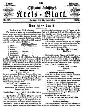 Osthavelländisches Kreisblatt on Nov 27, 1852