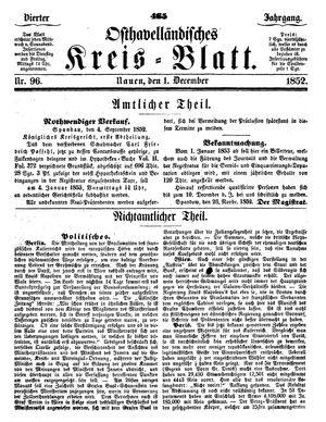Osthavelländisches Kreisblatt vom 01.12.1852