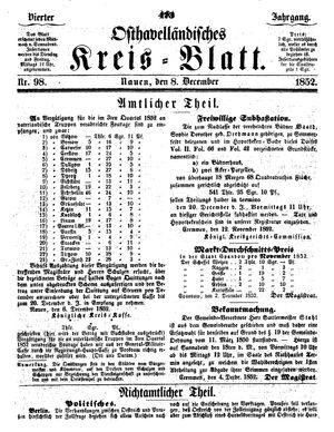 Osthavelländisches Kreisblatt on Dec 8, 1852