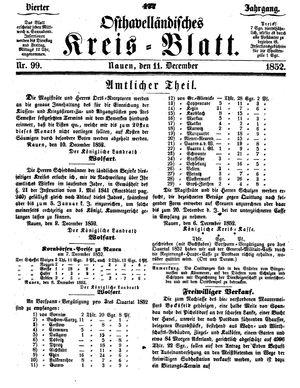 Osthavelländisches Kreisblatt vom 11.12.1852