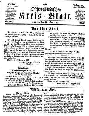 Osthavelländisches Kreisblatt vom 15.12.1852
