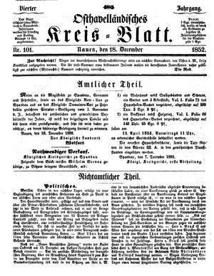 Osthavelländisches Kreisblatt vom 18.12.1852