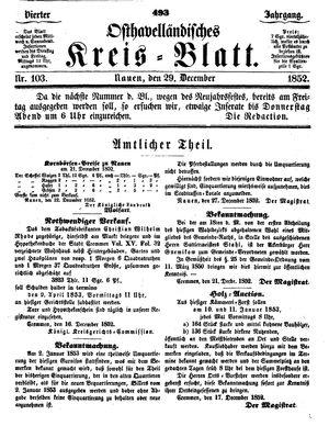Osthavelländisches Kreisblatt vom 29.12.1852