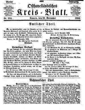 Osthavelländisches Kreisblatt vom 31.12.1852