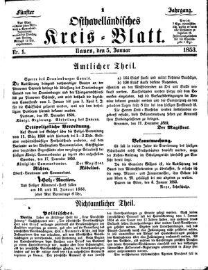 Osthavelländisches Kreisblatt vom 05.01.1853