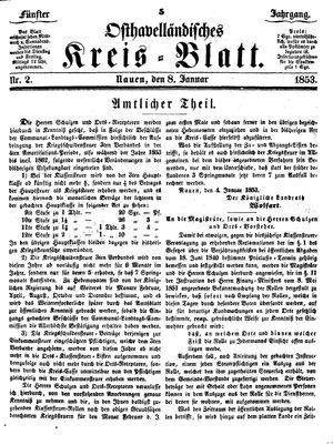Osthavelländisches Kreisblatt vom 08.01.1853