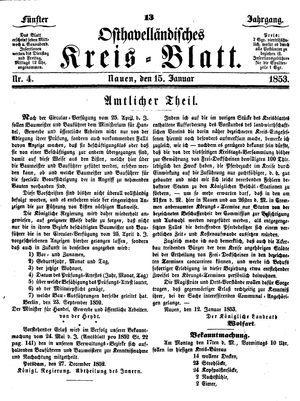 Osthavelländisches Kreisblatt on Jan 15, 1853