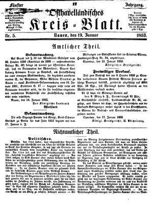 Osthavelländisches Kreisblatt vom 19.01.1853