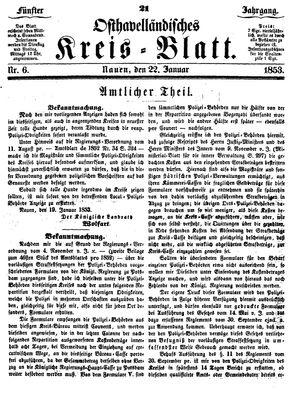 Osthavelländisches Kreisblatt vom 22.01.1853