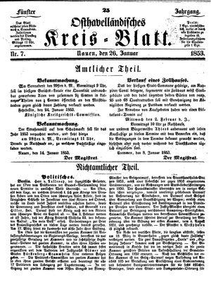 Osthavelländisches Kreisblatt vom 26.01.1853