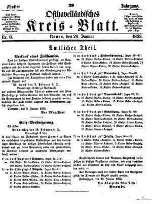 Osthavelländisches Kreisblatt vom 29.01.1853