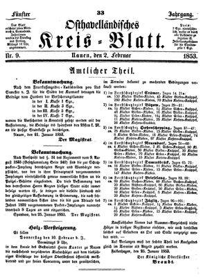Osthavelländisches Kreisblatt on Feb 2, 1853