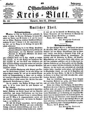 Osthavelländisches Kreisblatt vom 12.02.1853
