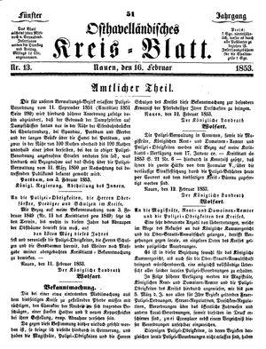 Osthavelländisches Kreisblatt vom 16.02.1853