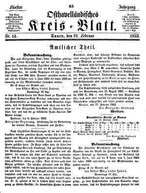 Osthavelländisches Kreisblatt vom 19.02.1853
