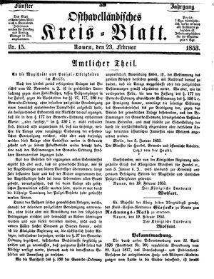 Osthavelländisches Kreisblatt vom 23.02.1853