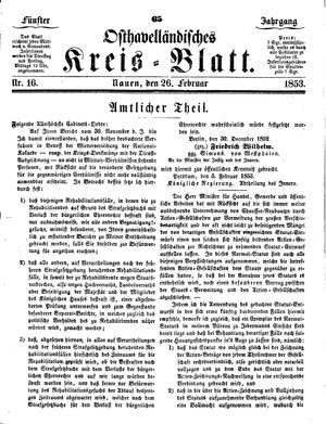 Osthavelländisches Kreisblatt vom 26.02.1853