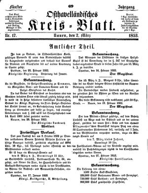 Osthavelländisches Kreisblatt vom 02.03.1853