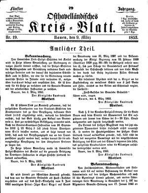 Osthavelländisches Kreisblatt vom 09.03.1853