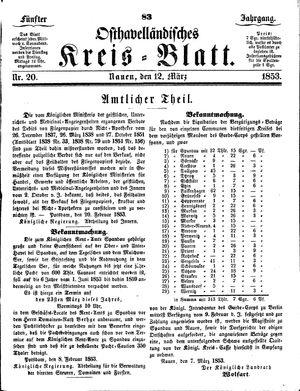 Osthavelländisches Kreisblatt vom 12.03.1853