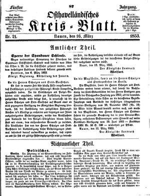 Osthavelländisches Kreisblatt vom 16.03.1853