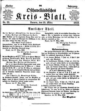 Osthavelländisches Kreisblatt vom 19.03.1853