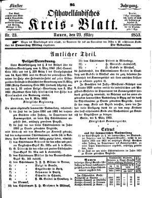 Osthavelländisches Kreisblatt on Mar 23, 1853
