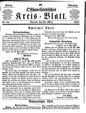Osthavelländisches Kreisblatt vom 26.03.1853