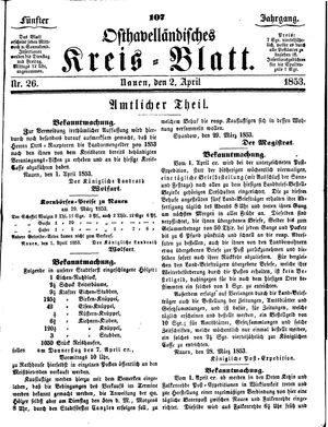 Osthavelländisches Kreisblatt vom 02.04.1853