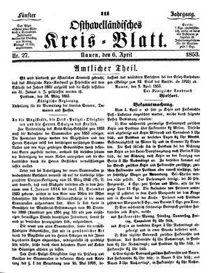 Osthavelländisches Kreisblatt vom 06.04.1853