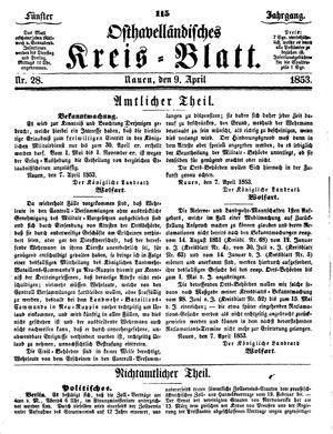 Osthavelländisches Kreisblatt vom 09.04.1853