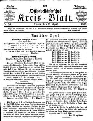 Osthavelländisches Kreisblatt vom 16.04.1853