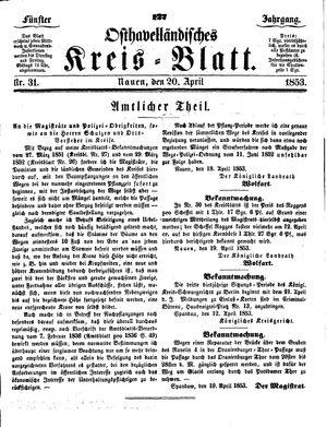 Osthavelländisches Kreisblatt vom 20.04.1853