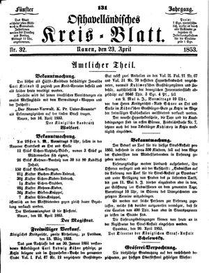 Osthavelländisches Kreisblatt vom 23.04.1853