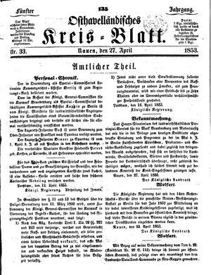 Osthavelländisches Kreisblatt on Apr 27, 1853