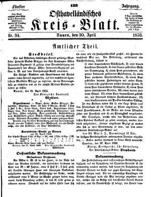 Osthavelländisches Kreisblatt vom 30.04.1853