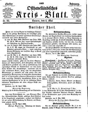 Osthavelländisches Kreisblatt on May 4, 1853