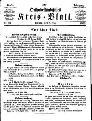 Osthavelländisches Kreisblatt vom 07.05.1853