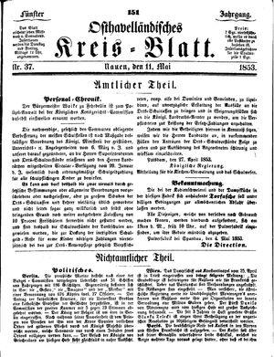 Osthavelländisches Kreisblatt vom 11.05.1853