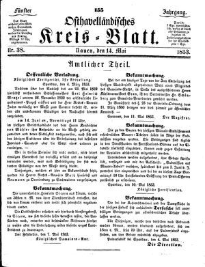 Osthavelländisches Kreisblatt on May 14, 1853