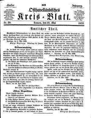 Osthavelländisches Kreisblatt vom 18.05.1853