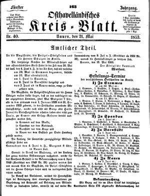 Osthavelländisches Kreisblatt on May 21, 1853