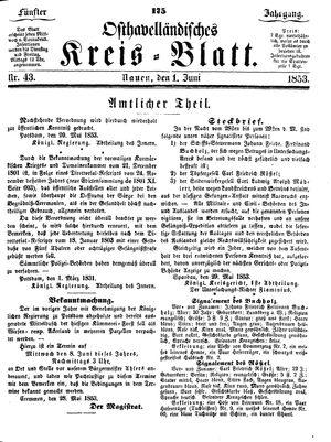 Osthavelländisches Kreisblatt vom 01.06.1853