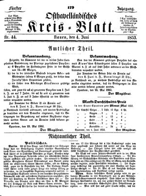 Osthavelländisches Kreisblatt vom 04.06.1853