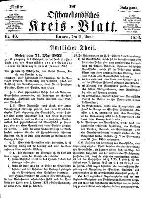 Osthavelländisches Kreisblatt vom 11.06.1853
