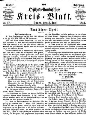 Osthavelländisches Kreisblatt on Jun 15, 1853