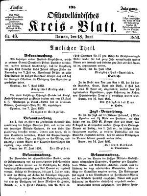 Osthavelländisches Kreisblatt on Jun 18, 1853